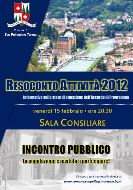 Incontro pubblico █ Resoconto attività 2012 e informativa Accordo di Programma